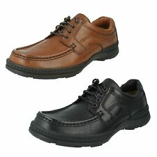 MENS CLARKS BRN,BLK LEATHER WIDE FIT CASUAL LACE UP SHOE LINE ACTION FIT H