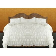 !! CYBER MONDAY DEAL !! 500TC EGYPTIAN COTTON WHITE SOLID  RUFFLED DUVET SET