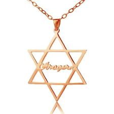 Star of David Charm Necklace with Personalized Rose Gold English Name Necklace