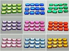 100 Flatback Acrylic Square Sewing Rhinestone Button 10X14mm Pick Your Color