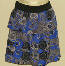 BANANA REPUBLIC Women's Gray & Purple Floral Tiered Skirt Sizes 2, 6, 8