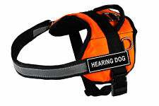 DT Works Orange Dog Harness Velcro Patches HEARING DOG