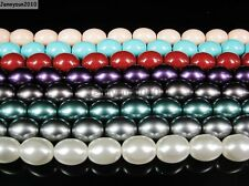 Top Quality Czech Glass Pearl 13mm x 16mm Barrel Beads 16'' White Red Turquoise