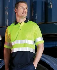 Mens Hi Vis Traditional S/Sleeve D & N Polo Shirt Workwear Safety Industrial