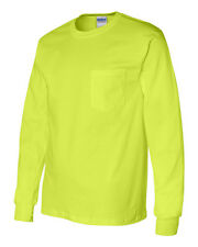 Gildan NEW Mens S-5XL SAFETY COTTON Long Sleeve T-shirt with a Pocket Tee 2410