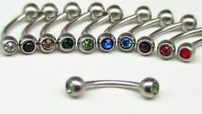 Round Gem Curved Barbell Eyebrow Surgical Steel Ring Ear Body Piercing Ring 4mm