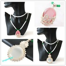 New Style Resin Round Beads Chain White Round/Pink Ellipse FlowerOpal Necklace