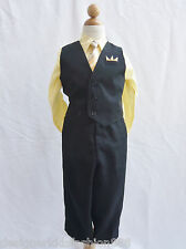 Black yellow sunbeam banana boy toddler teen vest and tie set formal party suit