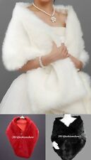 Ivory/Red/Black Faux Fur Wedding Bridal Wrap Woman Shawl Cape Stole In Stock