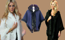LUXURIOUS NEW LADIES BLACK CELEBRITY INSPIRED CAPE BEAUTIFUL FUR TRIM HOOD TOWIE
