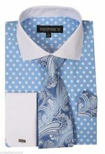 Men's French Cuff Dress Shirt with Polka Dot Design 3 Pieces Set Blue Size 15~20
