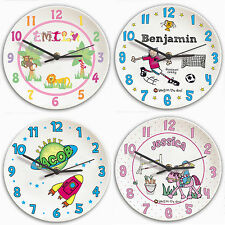 Childrens Bedroom Ceramic Wall Clocks - Personalise Boys and Girls Name