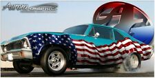 American flag glossy Vinyl Graphic Decal Go kart Golf Cart Race car half wrap