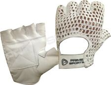 NEW* LEATHER FINGERLESS GEL COTTON MESH WEIGHT LIFTING EXERCISE GYM GLOVE WHITE