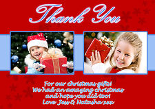 10 Personalised Christmas Greeting Thank You Cards Photos Red Blue Girl Boy