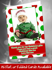 10 Personalised Christmas Greeting Thank You Cards Polka Dot Red Green Girl Boy