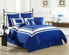LUX DECOR - BLUE - FULL Size 8 Piece Comforter Set With White Stripe Bedding