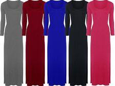 New Womens Plus Size Jersey Long Sleeve Maxi Dress Scoop Neck Stretch Maxi 16-26