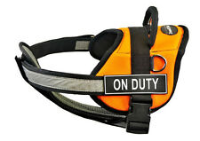 DT Works Orange Chest Support Dog Harness Velcro Patch ON DUTY