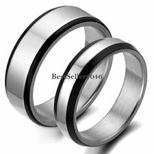 Black Edge Silver Stainless Steel Couples Mens Womens Promise Ring Wedding Band