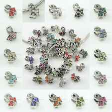 Charms Beads Zinc Alloy Colorful European Retro Breast Cancer Awareness Ribbons