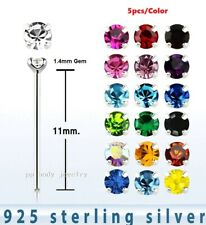 5pcs. 22G (0.6mm)~1.4mm CZ Gem .925 Sterling Silver Prong Set Nose Stud Straight