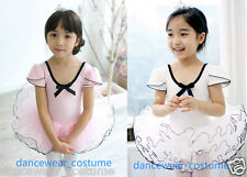 New Kids Girls Short Sleeve Ballet Costume Tutu Dance Leotard Skirt Dress 2Color