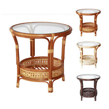 Pelangi Handmade Rattan Wicker Round Coffee Table with Glass Top,Tropical Style