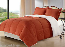 Borrego Burnt ORANGE 3pc Sherpa/Berber Comforter Set - Twin Full/Queen King