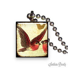 Reclaimed Scrabble Tile Pendant Necklace Jewelry - Vintage House Finch Bird