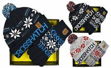 MENS CROSSHATCH WOOLY WINTER XMAS SNOWFLAKE BOBBLE BEANIE HAT AND GLOVES GIFTSET