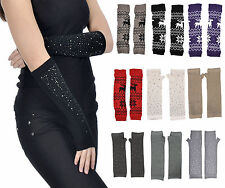 Women Winter Long Knit Fingerless Gloves Hand Warmers with Rhinestones