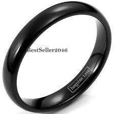 4mm Polish Black Dome Ring Tungsten Carbide Mens Womens Comfort Fit Wedding Band