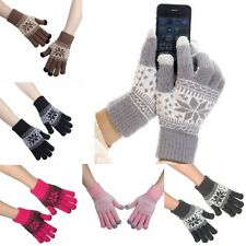 Snowflake Style Magic Warm Cotton Knit Touch Screen Gloves For iPhone Smartphone
