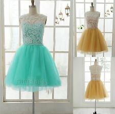 New Short Blue Lace Net Girl's Evening Party Dress Prom Cocktail Gowns Size 6-16