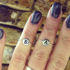 Sterling Silver, Initial MIDI Ring, Delicate Custom Above Kuckle +FREE GIFT BOX