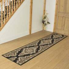 Turkesh Black - Hallway Carpet Runner Rug Traditional Hall Extra Very Long Cheap