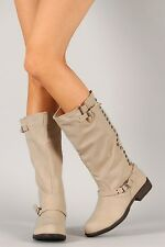 Bamboo Montage-75 Women Studded Leatherette Knee High Boot Shoes