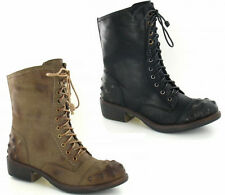 SALE LADIES SPOT ON STUDDED MID CALF ZIP LACE UP ANKLE BOOTS F50173