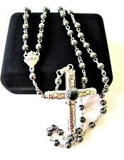Cruel Intentions Rosary, Classic Onyx & Sterling Pendant w/ Hematite Beads