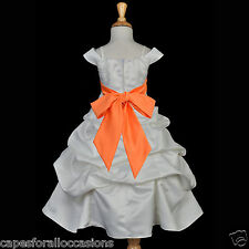 WHITE WEDDING FLOWER KIDS GIRL DRESS SPAGHETTI STRAP CAP SLEEVE 2 4 6 8 10 12 14