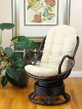 NEW! DESIGN SWIVEL ROCKING CHAIR WITH CUSHION NATURAL WICKER RATTAN FURNITURE