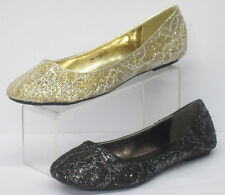 *SALE|* Ladies Spot On Glitter/Lace Flat Ballerina Shoes - F8863