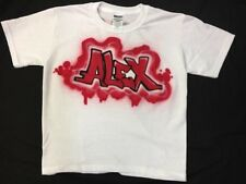 Kids personalized tee shirt with his or her name custom airbrushed graffiti NEW!