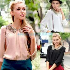 A#S0 Fashion Bling Women Sequins Peter Pan Collar Puff Sleeve Chiffon Blouse