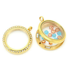 Wholesale Market Floating Charm Locket Necklace Rhinestone Gold Plated 3.6x3cm