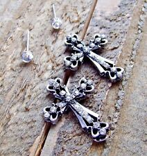 Rhinestone Cross Stud Set of 2 Pair Earrings Cowgirl Fashion Jewelry Silver Gold