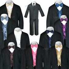 New 7pc Satin Vest Bow Tie + Boy Baby Toddler Kid Black Formal Suit Tuxedo S-20