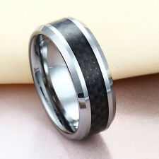 Men Women Wedding Band Ring His Her Tungsten Black Carbon Fiber 6mm 8mm All Size