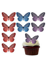 LOVELY MIX LARGE BUTTERFLIES EDIBLE WAFER PAPER CUP CAKE TOPPERS DECORATIONS
